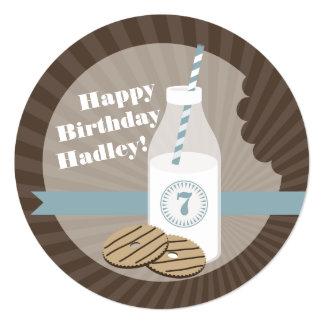 Milk & Cookies Round Birthday Striped Blue 5.25x5.25 Square Paper Invitation Card
