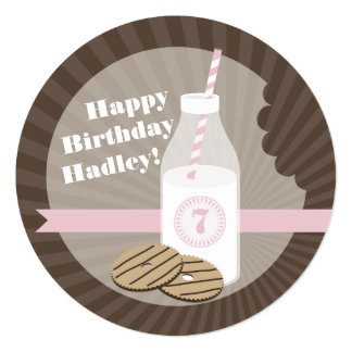 Milk & Cookies Round Birthday Striped Pink 5.25x5.25 Square Paper Invitation Card