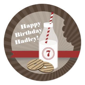 Milk & Cookies Round Birthday Striped Red 5.25x5.25 Square Paper Invitation Card