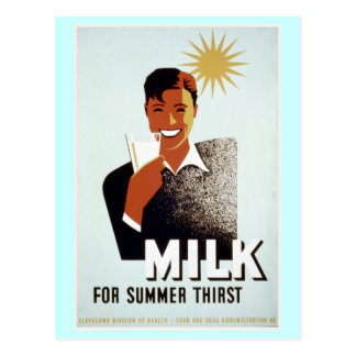 Milk for Summer Thirst Vintage Poster Postcard