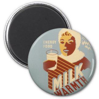 Milk for Warmth 6 Cm Round Magnet