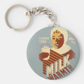 Milk for Warmth Basic Round Button Key Ring
