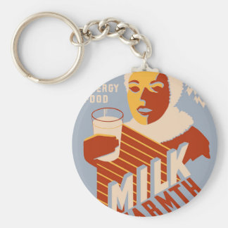 Milk - for warmth Energy food Basic Round Button Key Ring