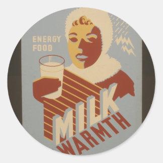 Milk for Warmth Round Sticker