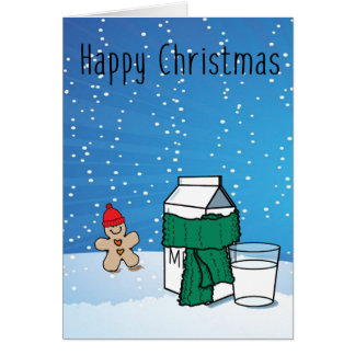 """Milk & Ginger"" Funny Snow Christmas Greeting Card"