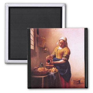 Milk maid by Johannes Vermeer Fridge Magnet