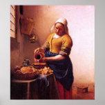 Milk maid by Johannes Vermeer Poster
