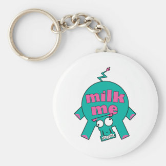 Milk Me! Basic Round Button Key Ring