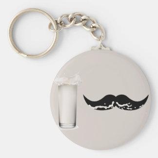 Milk Mustache Creme Basic Round Button Key Ring