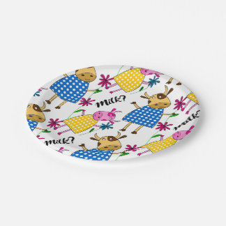 """Milk?"" sign with cute cow character Paper Plate"
