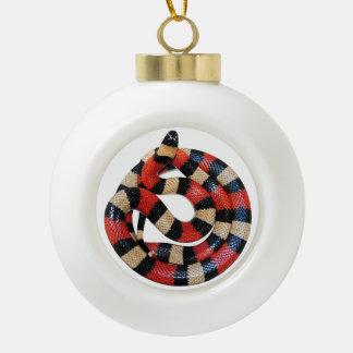 Milk snake ceramic ball christmas ornament