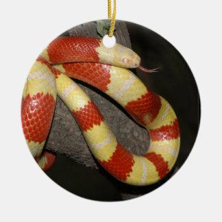 Milk snake round ceramic decoration