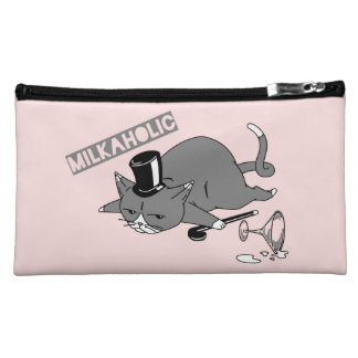 """Milkaholic"" Cat Baron Pun Illustration Makeup Bag"
