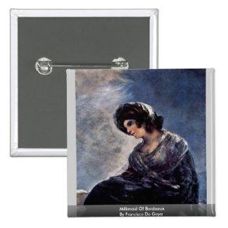 Milkmaid Of Bordeaux By Francisco De Goya 15 Cm Square Badge