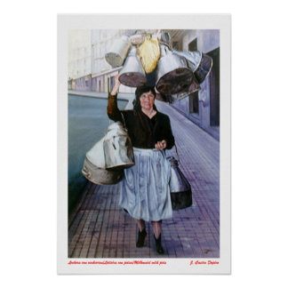 Milkmaid with earthenware vessels/Milkmaid with po Poster