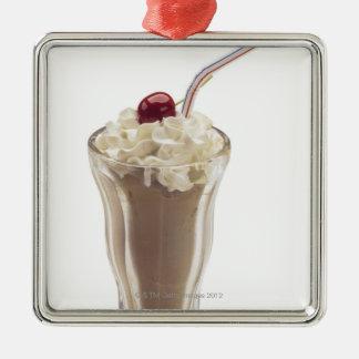 Milkshake Silver-Colored Square Decoration