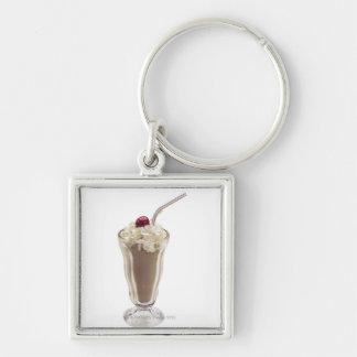Milkshake Silver-Colored Square Key Ring