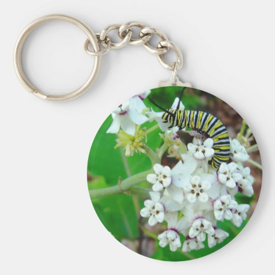 Milkweed and Monarch Basic Round Button Key Ring