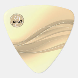 Milky Caramel Modern Waves Monogram Guitar Pick