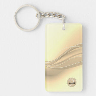 Milky Caramel Modern Waves Monogram Key Ring