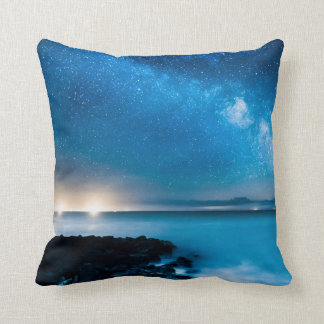 Milky Way Galaxy Over Fishing Boats Cushion