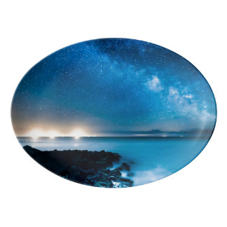 Milky Way Galaxy Over Fishing Boats Porcelain Serving Platter