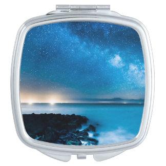 Milky Way Galaxy Over Fishing Boats Vanity Mirror