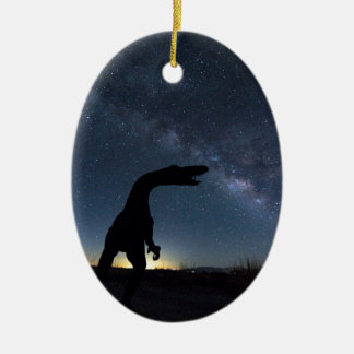 Milky Way over dinosaur Ceramic Oval Decoration
