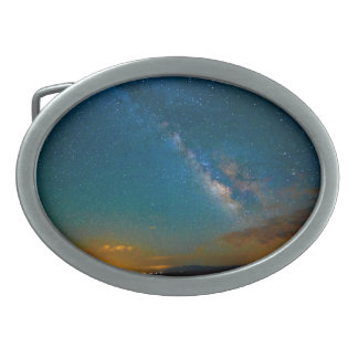 Milky Way over Taos, New Mexico Oval Belt Buckle