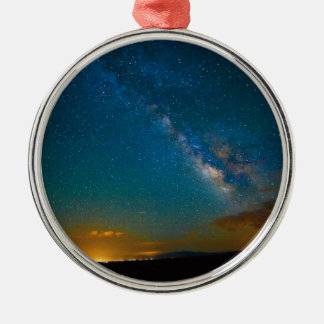 Milky Way over Taos, New Mexico Silver-Colored Round Decoration