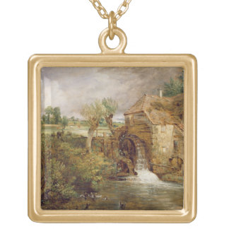 Mill at Gillingham, Dorset, 1825-26 (oil on canvas Square Pendant Necklace