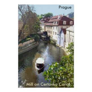 Mill on Certovka Canal, Prague.  Poster