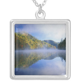 Millcreek Lake and autumn colors at sunrise, Silver Plated Necklace