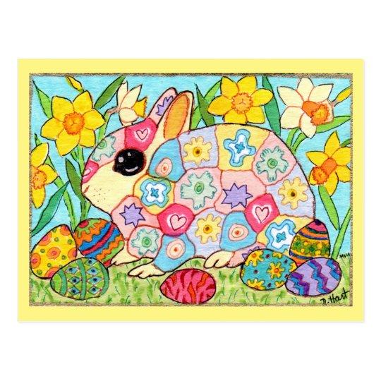 Millefiori Bunny with Festive Eggs Folk Art Easter Postcard