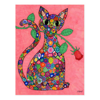 Millefiori Cat with Red Rose Postcard