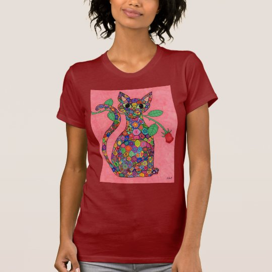 Millefiori Cat with Red Rose T-Shirt
