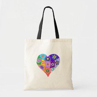 Millefiori quilt heart tote bag