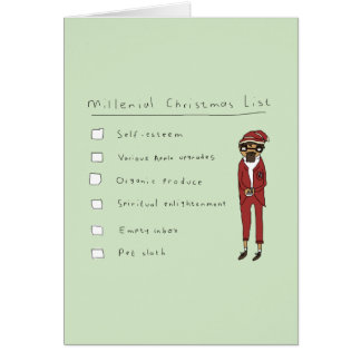 Millenial Christmas List | Funny Comic Card