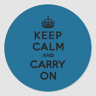 Millenium Blue Keep Calm and Carry On black Sticker