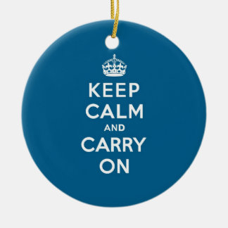 Millenium Blue Keep Calm and Carry On Christmas Ornament