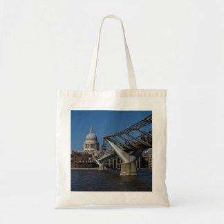 Millenium Bridge and St Pauls Cathedral Tote Bags