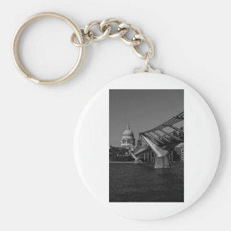 Millenium Bridge and St Pauls Cathedral Basic Round Button Key Ring