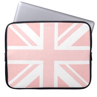 Millennial Pink Union Jack UK Flag Laptop Sleeve