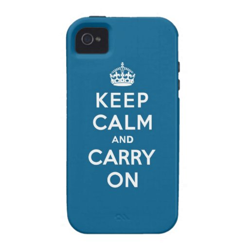Millennium Blue Keep Calm and Carry On Case-Mate iPhone 4 Case