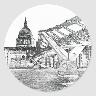 Millennium Bridge and St Pauls Round Sticker
