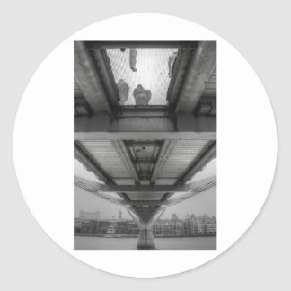Millennium Bridge BW Round Sticker
