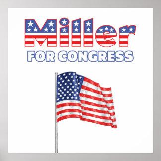 Miller for Congress Patriotic American Flag Design Poster