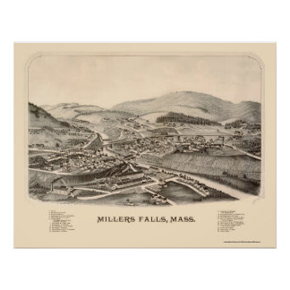 Millers Falls, MA Panoramic Map - 1889 Poster