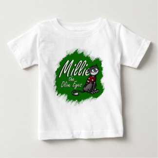 Millie the Olive Eyes, Green Background Baby T-Shirt