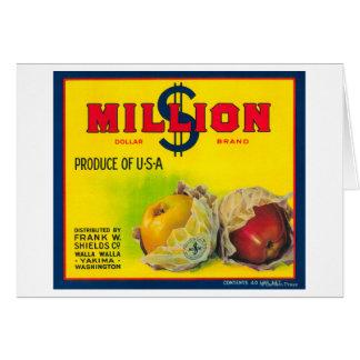 Million Dollar Apple Label - Walla Walla, WA Card